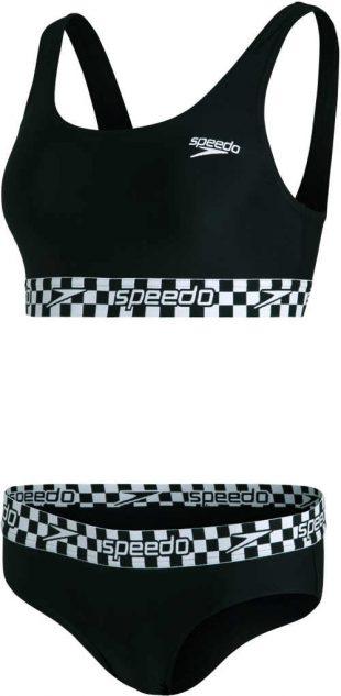 Dvojdielne športové plavky Speedo v čiernej a bielej farbe
