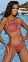 Dvojdielne ružové plavky Hana s rafinovaným šnurovaním medzi prsiami