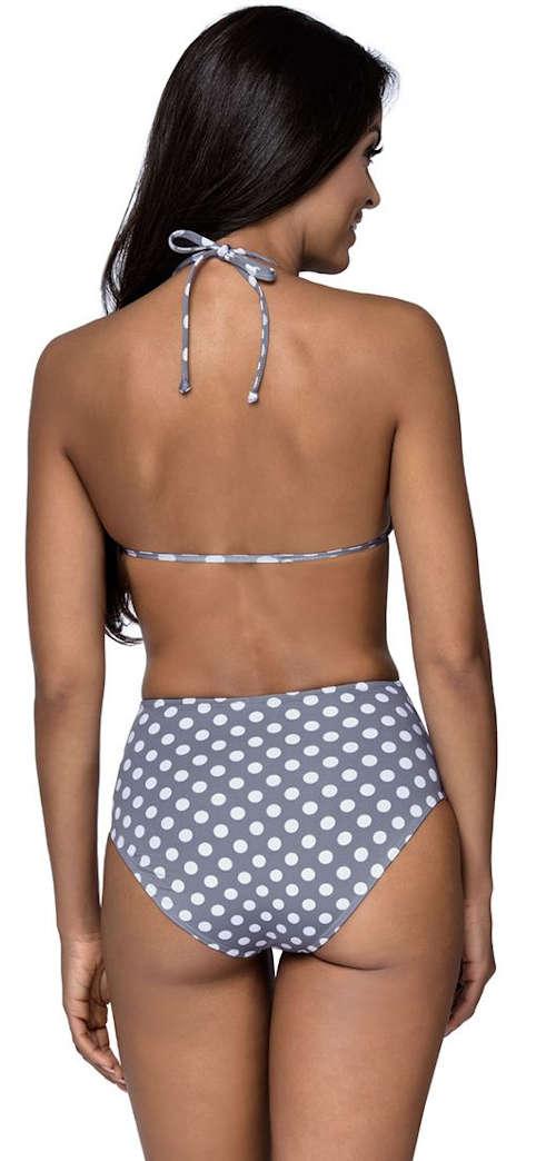 Šedo-biele dámske dvojdielne plavky s bodkami