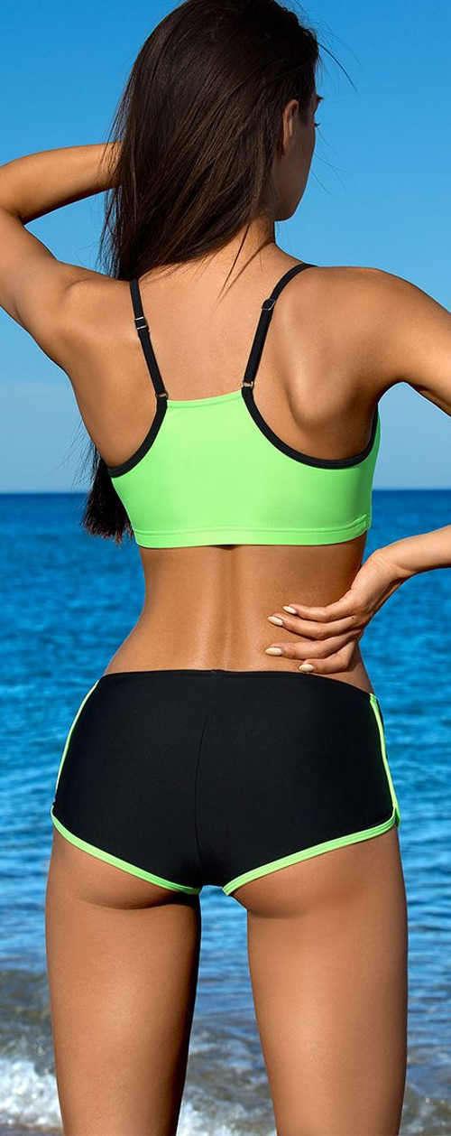 Športové dámske dvojdielne plavky s regulovateľnými ramienkami