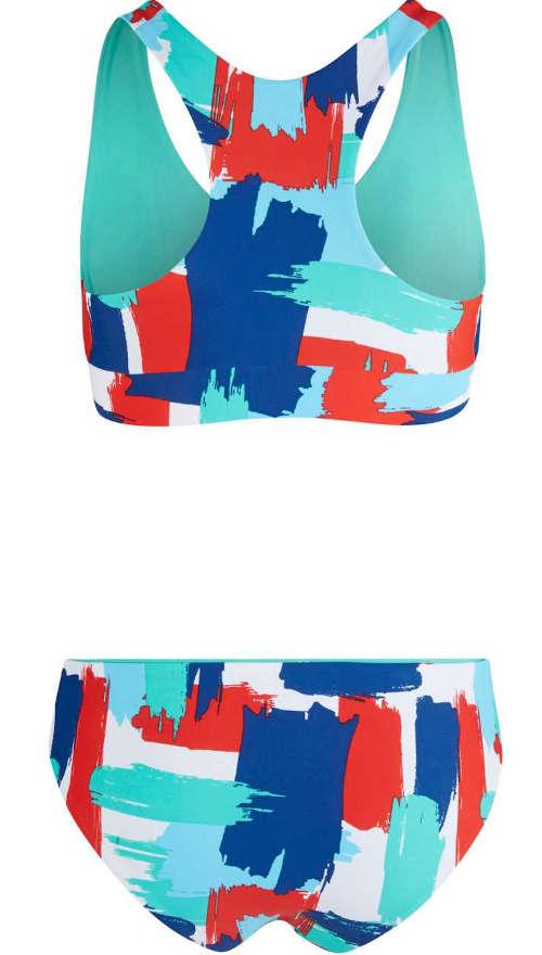 Vzorované pestrofarebné dámske plavky športového strihu