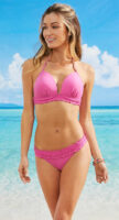 Jednoduché ružové dvojdielne plavky s riasením a ramienkami okolo krku