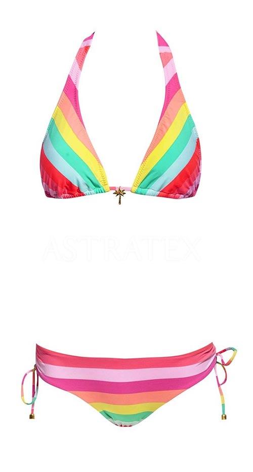 Pestrofarebné pruhované dvojdielne plavky