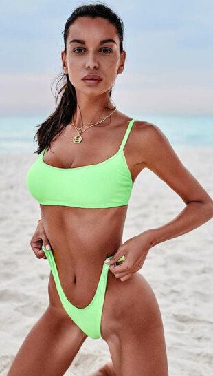 Svetlo zelené dámske tangá plavky Obsessive Mexico Beach