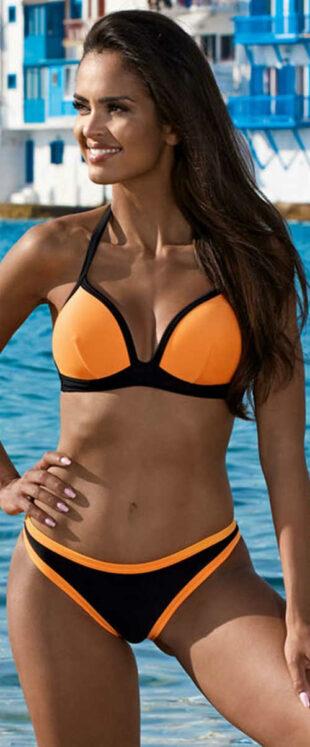 Oranžovo-čierne dvojdielne plavky s vystuženými push up košíčkami