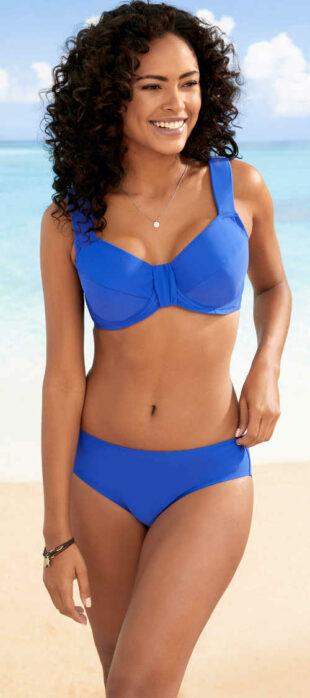 Modré zmenšovacie dvojdielne plavky pre ženy s veľkým poprsím