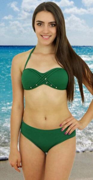Zelené dvojdielne push-up plavky Rock Star výpredaj