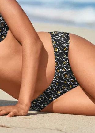 Vzorované plavkové midi nohavičky pre ploché bruško