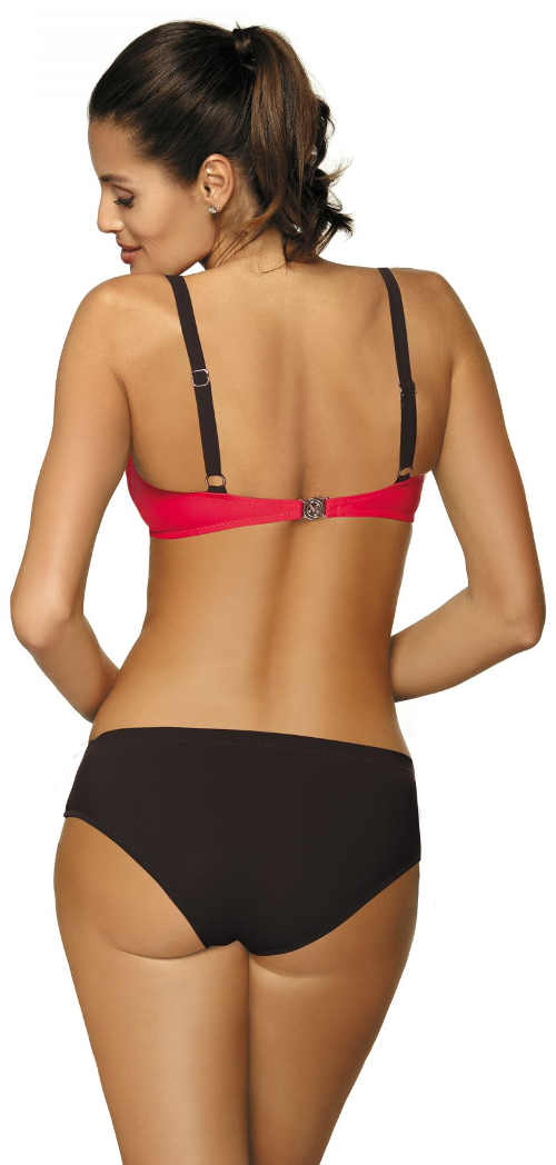 Červeno-čierne dámske dvojdielne plavky