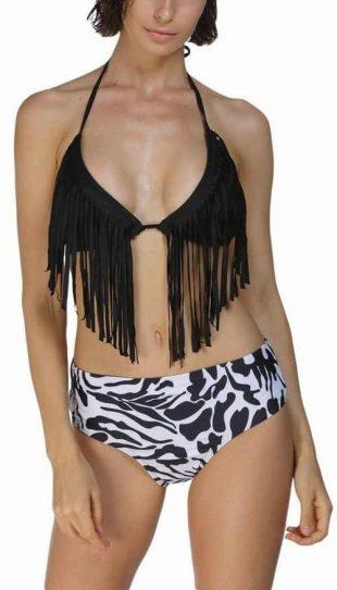 Dámske plavky s podprsenkou s okrajmi a nohavičkami so zebrou