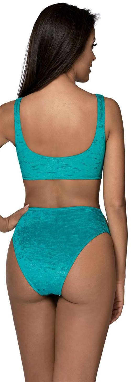 Modré dámske dvojdielne plavky so semišovým efektom