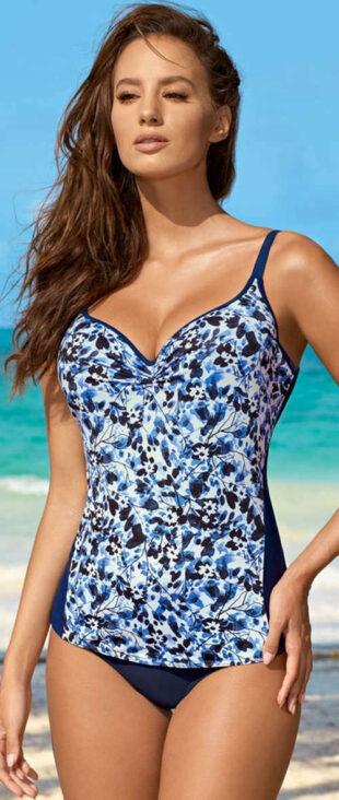 Modré dámske plavky tankiny s výrazným vzorom