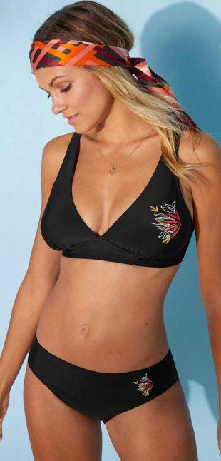 Trojuholníková glamour plavková podprsenka s výšivkou