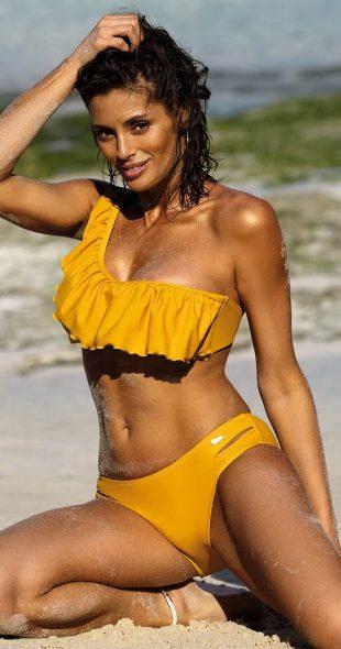 Žlté plavky na jedno rameno s volánom na hrudi